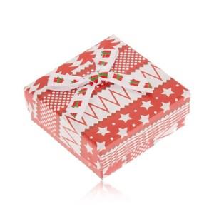 Červeno-biela krabička na náušnice