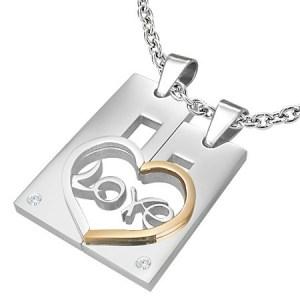 Dvojprívesok z ocele pre zamilovaných LOVE - obdĺžnik a srdce