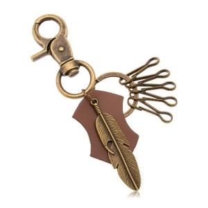 Kľúčenka mosadznej farby - pás z umelej kože