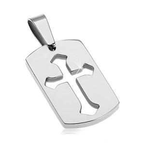 Lesklá oceľová známka s jetelovým krížom