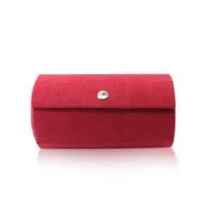 Šperkovnica v červenom farebnom prevedení - tvar valca