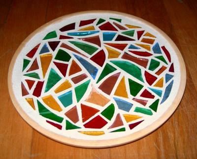 multicoloured candle plate