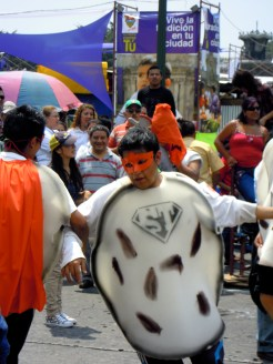 "Huelga participant dressed as ""Super Tortilla"""
