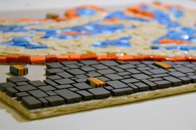 graffiti mosaic - work in progress - smalti and unglazed porcelain