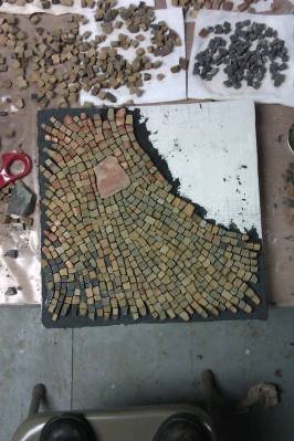 sandstone mosaic work in progress