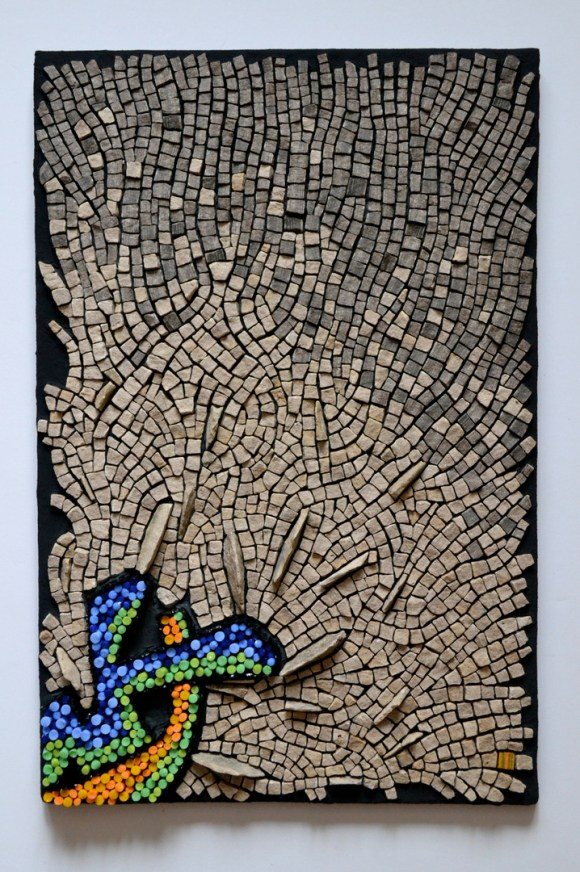 """Punctuated Equilibrium II"" mosaic by Julie Sperling (2014, 18"" x 12"", glass rods, local stone, skateboard)"