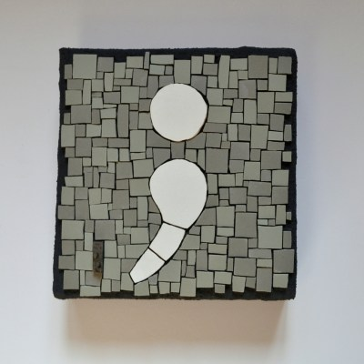 Semicolon mosaic by Julie Sperling
