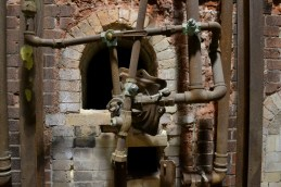Leftover pipes and hardware in the kilns.