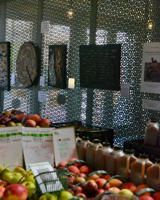 My mosaics chilling with some apples at the Saturday market. (See? This is why I say ask about access.)