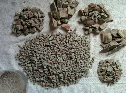 All chopped and sorted by size and shape (and please note that I also saved the wee flakes and dust)
