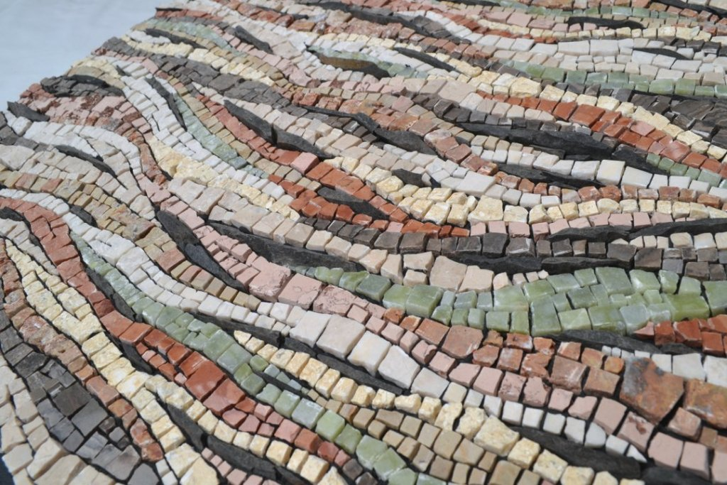 """Both / and"" (detail) - climate change mosaic by Julie Sperling"