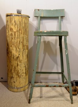 My grandma's kitchen stool -- for visitors and for chopping rock