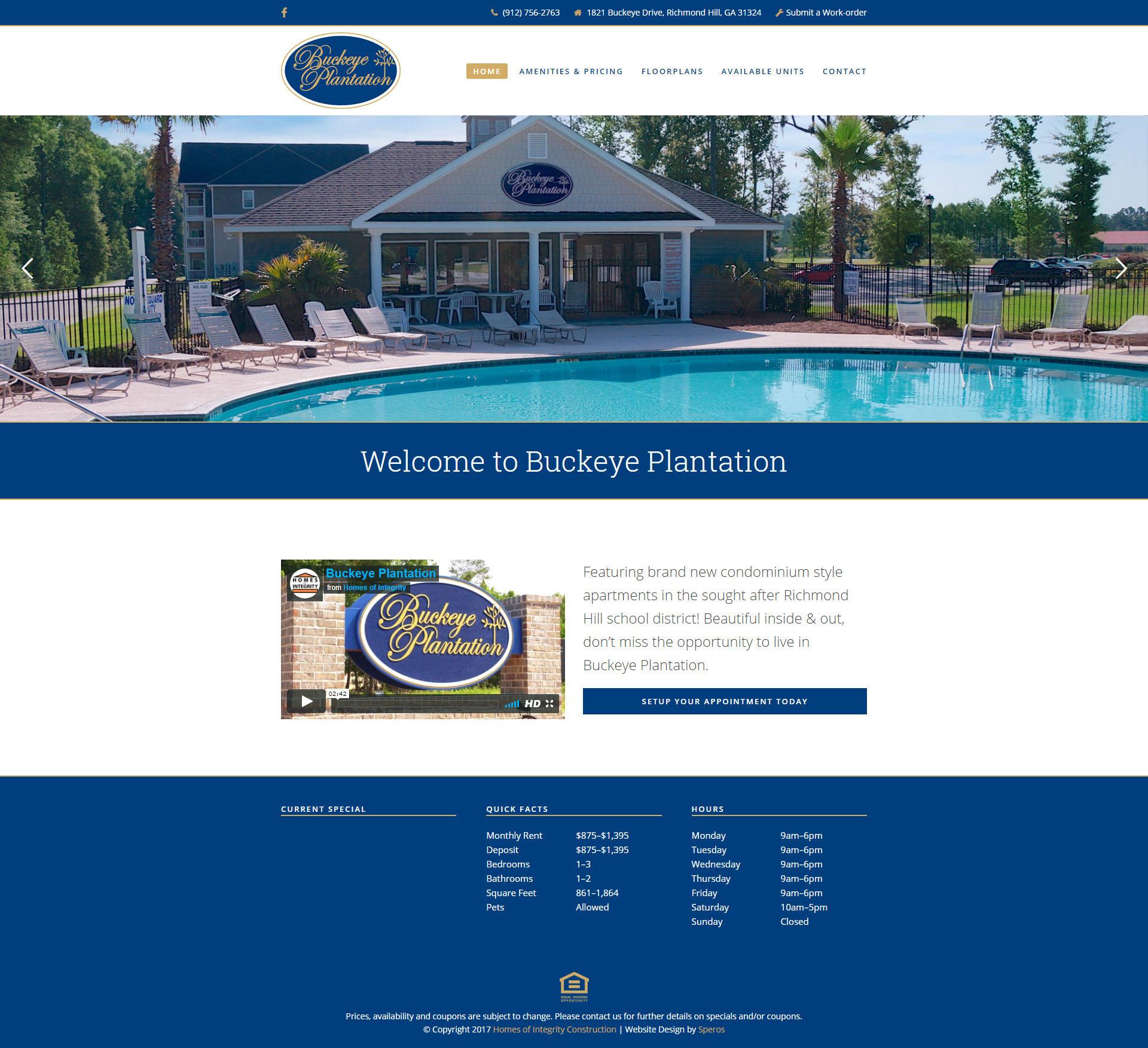 Buckeye Plantation Website Design
