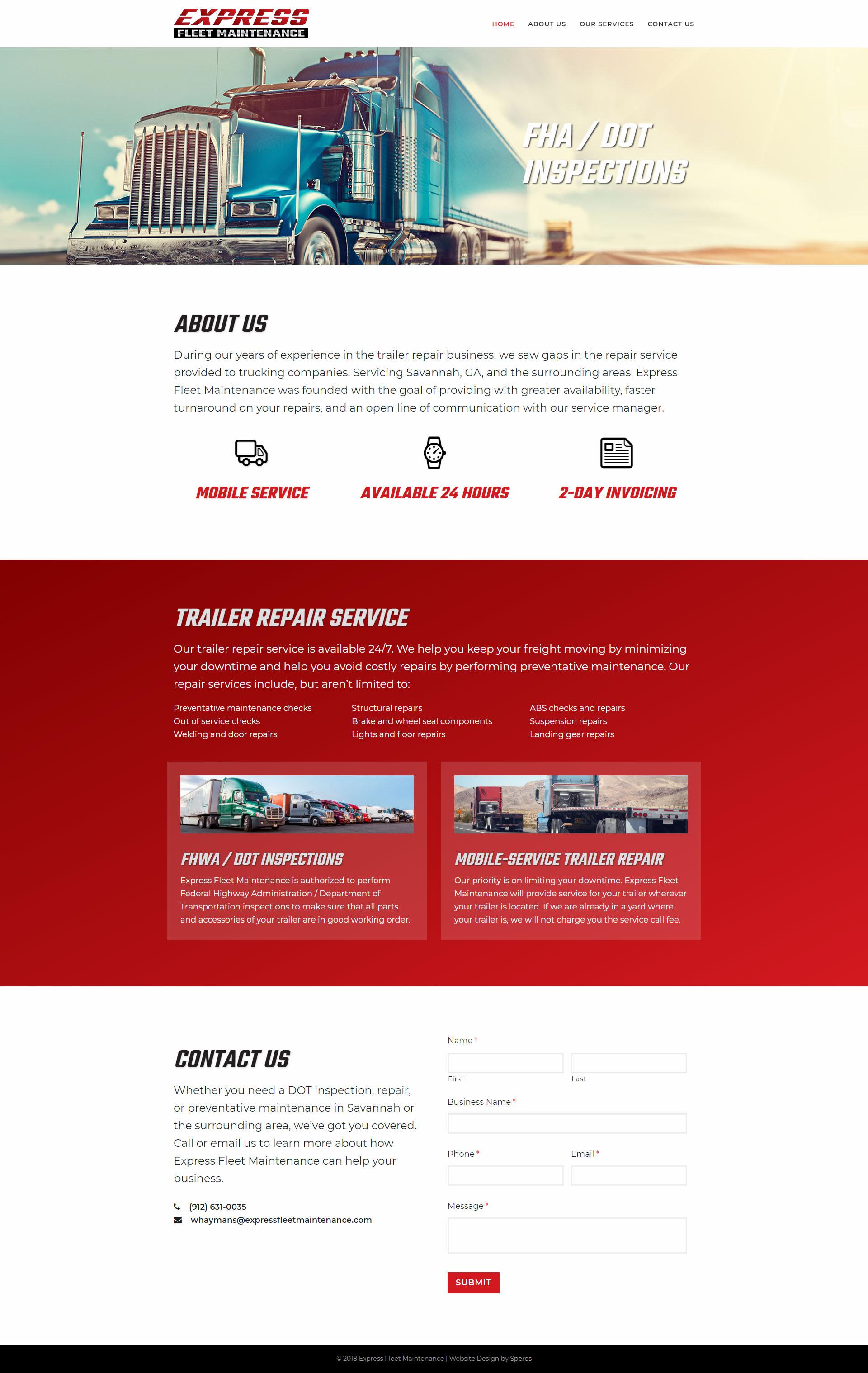 Express Fleet Maintenance website - Speros - Savannah, GA