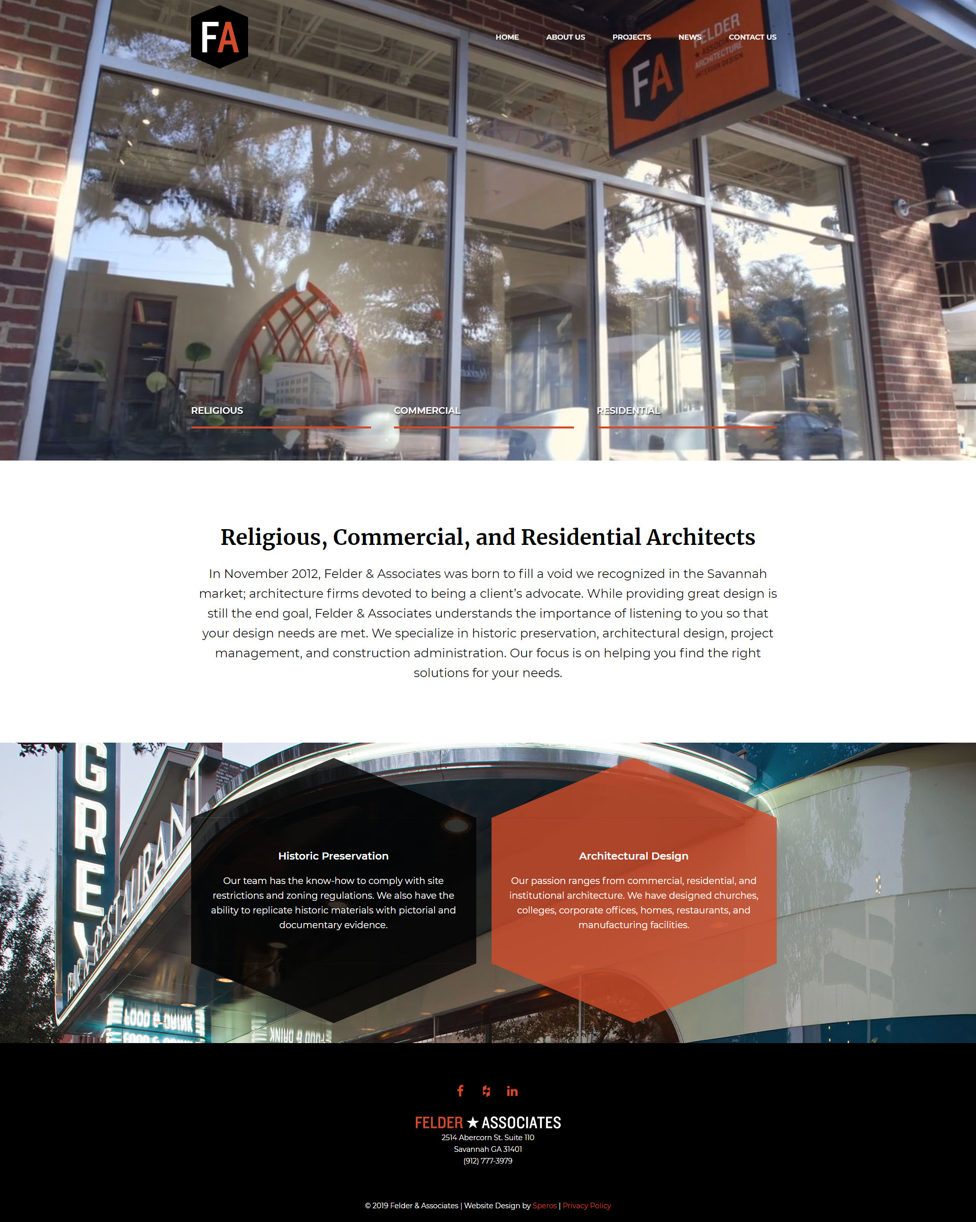 Felder and Associates website homepage design - Speros - Savannah, GA