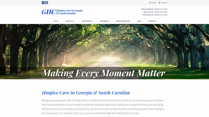 Georgia Hospice Care Website - Speros - Savannah, GA
