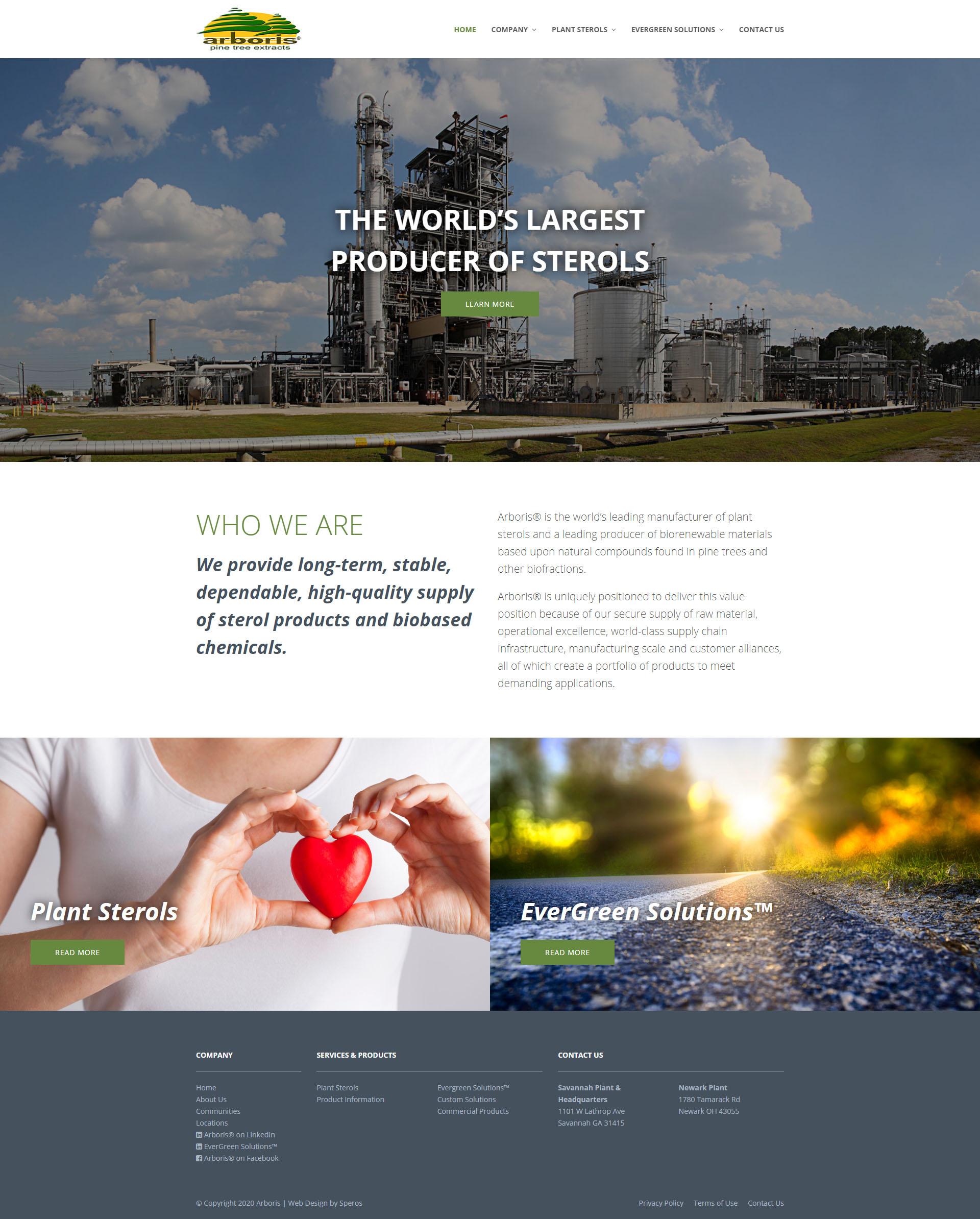 Arboris homepage design - Speros - Savannah, GA