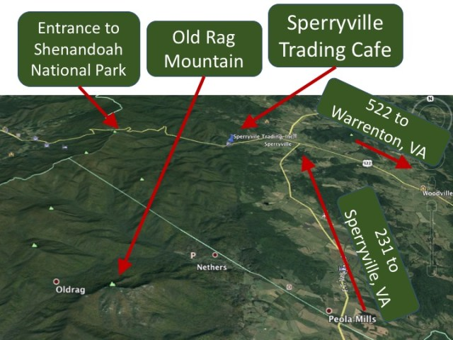 Hikers Sperryville Trading Cafe And Market - Old rag map