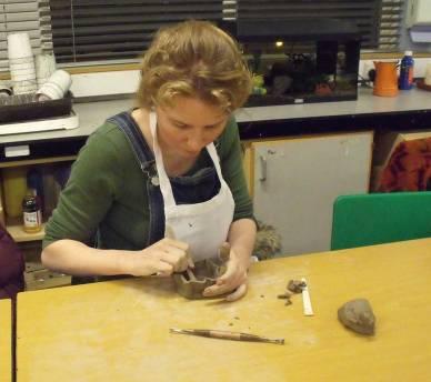 Jess making a pinch pot