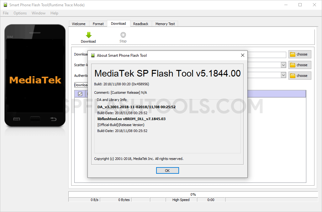 SP Flash Tool v5.1844