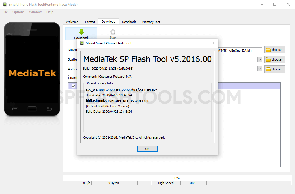 SP Flash Tool v5.2016 for Linux