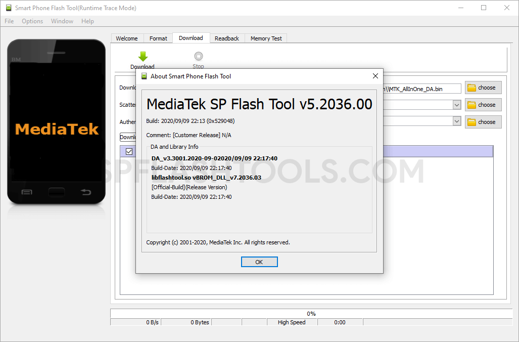 SP Flash Tool v5.2036 for Linux