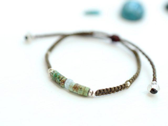 [A-1]トルコ石と平編みのブレスレット
