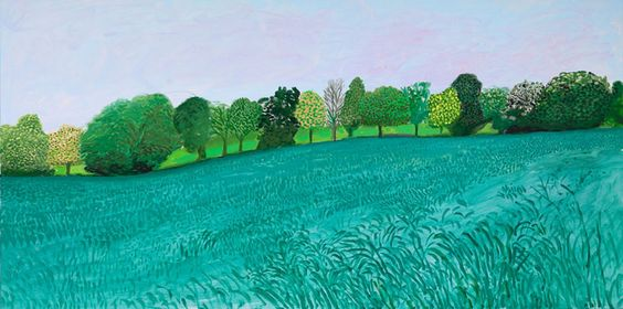 """EARLY BLOSSOM NEAR BRID"" 2009 OIL ON CANVAS 36 X 72"" © DAVID HOCKNEY PHOTO CREDIT: JONATHAN WILKINSON"