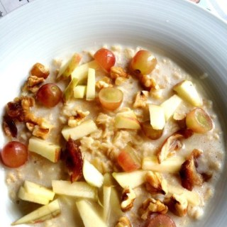 Oats, Almond Milk and Fruits