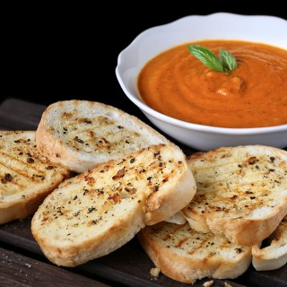 Roasted Tomato Soup with Pepper Garlic Toasts