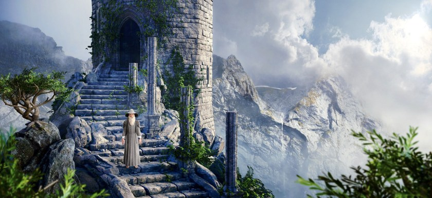 Image of a wizard standing in front of a castle