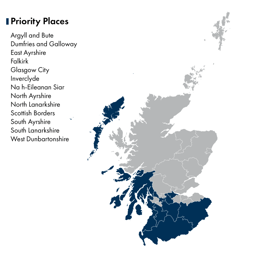 Map shows the 13 priority places in Scotland  - Argyll and Bute, Dumfries and Galloway, East Ayrshire, Falkirk, Glasgow city, Inverclyde, Na h-Eileanan Siar, North Ayrshire, North Lanarkshire, Scottish borders, South Ayrshire, South Lanarkshire, and West Dunbartonshire