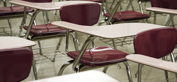 Picture of exam hall desks and chairs