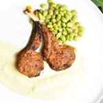 Grilled Lamb Chops served with cauliflower mashed potatoes and steamed edamame