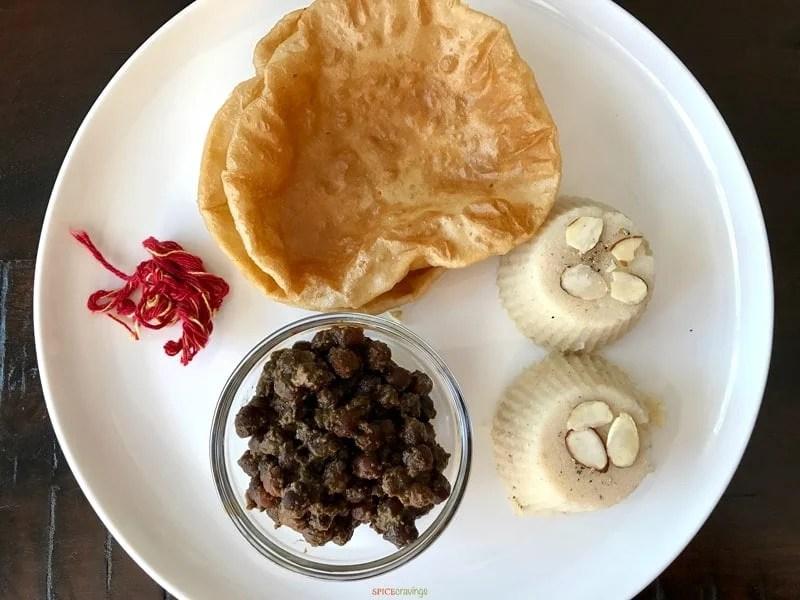 Asthami Puja Sooji Halwa, Kaala Chana served with Poori