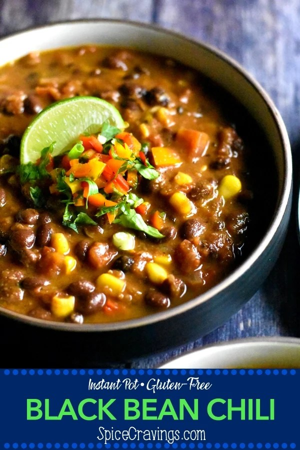 This Instant Pot Black Bean Chili hascreamy black beans simmered in vegetable broth with sweet diced tomatoes, crunchy corn, peppers and fire roasted green chilies. Taco seasoning gives it the bold flavors and unsweetened cocoa powder takes it over the top! Delish!! #spicecravings #instantpot #chili #vegetarian #glutenfree #vegan #soup