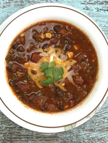Weeknight Black bean chili in Instant Pot, pressure cooker chili, garam masala kitchen
