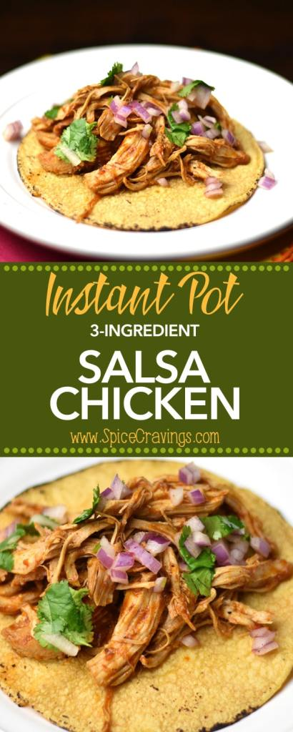 3 ingredient instant pot salsa chicken, pressure cooker salsa chicken by Spice Cravings. If there was ever a contest for theEASIEST CHICKEN TACO RECIPE EVER, this recipe for 3-ingredient Instant Pot Salsa Chicken would win hands down! The only prep I do is open a packet of chicken, taco Seasoning and a jar of Salsa. I pressure cook the chicken, shred it and load it on to soft warm corn tortillas! #food #foodie #foodblogger #delicious #recipe #instantpot #recipes #easyrecipe #cuisine #30minutemeal #instagood #foodphotography #tasty