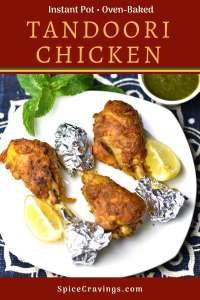 Indian Spiced Grilled chicken called Tandoori Chicken served with lemon wedges