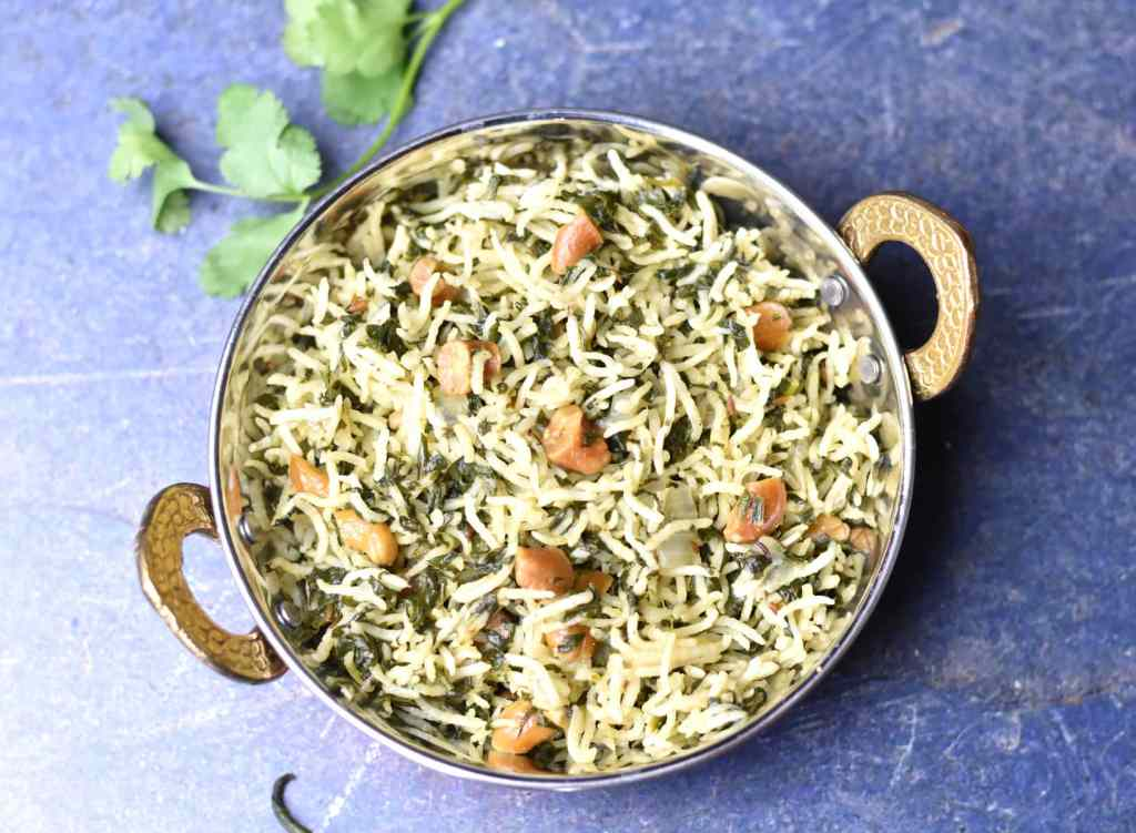 Instant Pot Spinach Rice Pilaf by Spice Cravings. #cooking #food #recipe #recipes #foodphotography #foodblogger #yummy #delicious #foodie