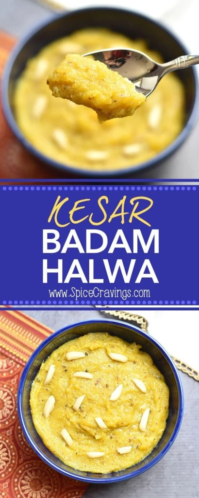 Kesar Badam Halwa, Saffron Almond Pudding by Spice Cravings . #cooking #food #recipe #recipes #foodphotography #foodblogger #yummy #delicious #foodie #saffron #almond #fudge #halwa #indiancuisine #desserts
