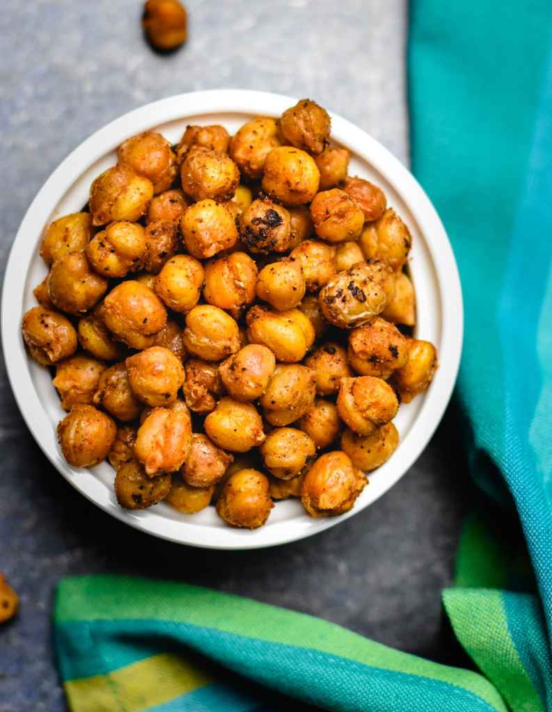 Mediterranean flavored oven roasted chickpeas.