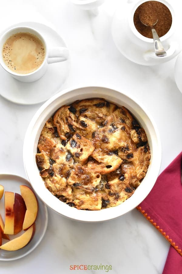 Cinnamon Raisin French Toast Casserole baked in Instant Pot