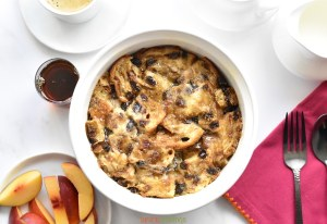 Top shot of Cinnamon Raisin French Toast casserole