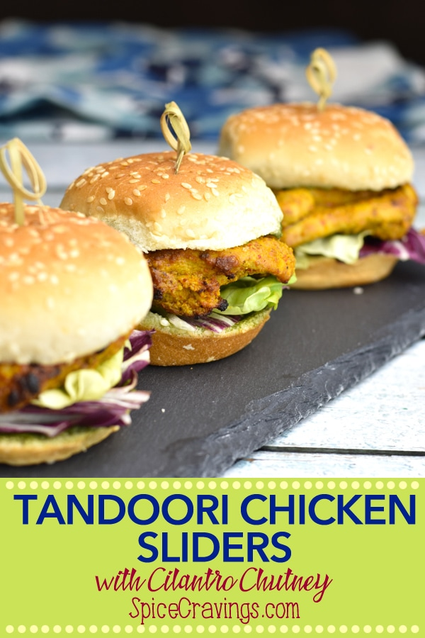 Tandoori Chicken Sliders are mini-burgers with marinated & grilled chicken, sandwiched in soft slider buns and dressed with a delicious cilantro-chutney spread.  #spicecravings #chicken #burgers #sliders #indian #curry #recipes #wprecipemaker #grilling #instantpot #tasty #yum #f52grams #foodgawker #foodpics#food #foodie #foodblogger #easyrecipe  #cuisine  #30minutemeal  #instagood #foodphotography