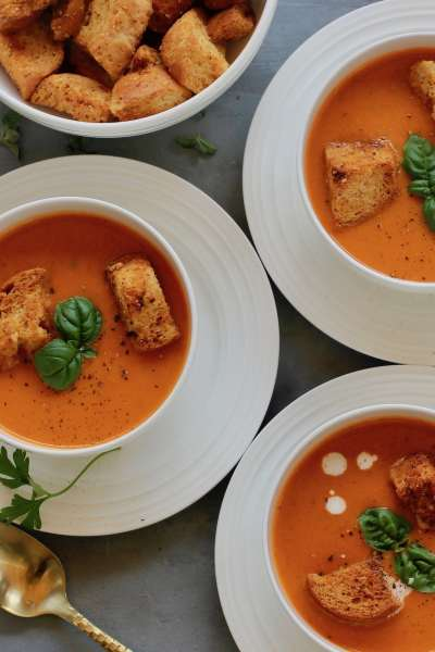 A creamy bowl of Instant Pot Tomato Bisque Soup