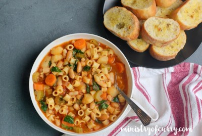 A bowl of Pasta Fagioli Soup in Instant Pot