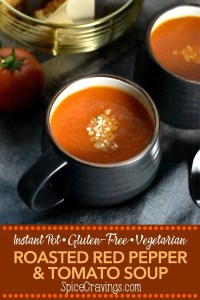 A bowl of roasted red pepper tomato soup made in Instant Pot