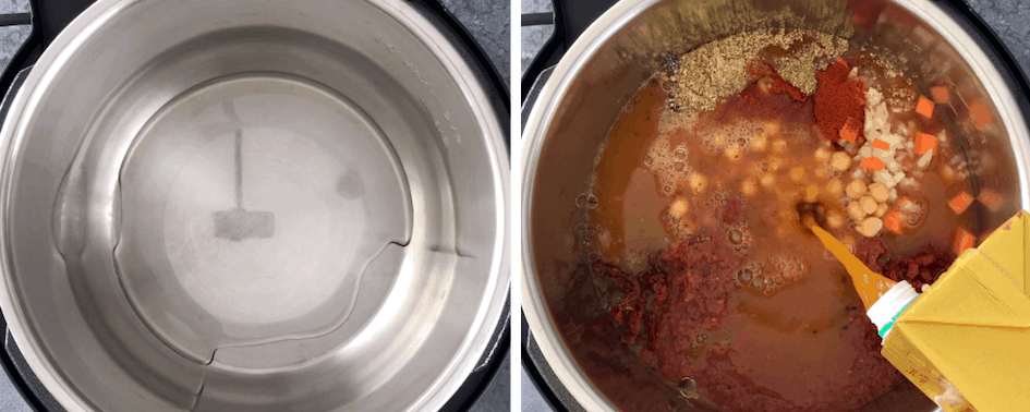 Step by step instructions on how to make Moroccan Chickpea Soup in an Instant Pot