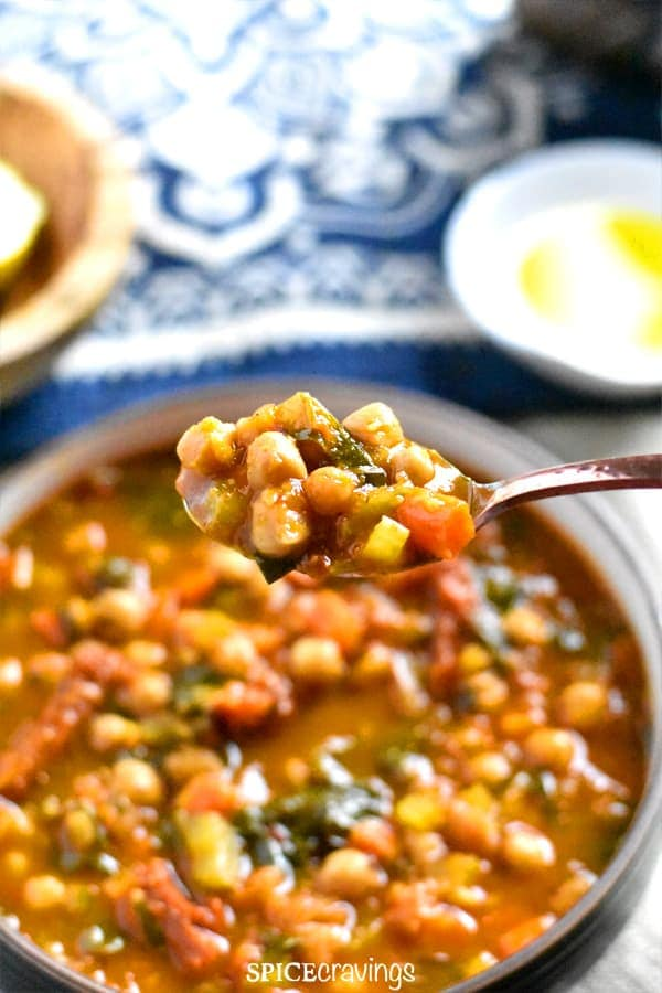 A spoonful of Moroccan Spiced Chickpea Soup